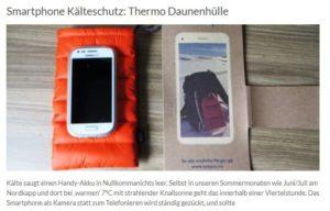 Daunentasche für Handy, Handy warm halten