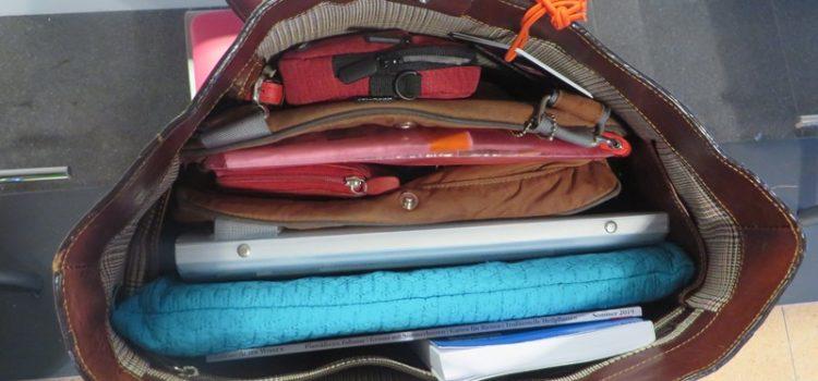 Handtasche von innen Flugreise