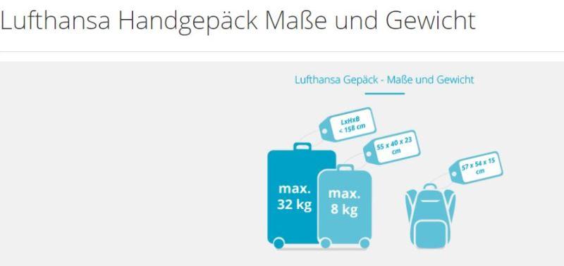 Gepäckbeschränkung Handgepäck Lufthansa