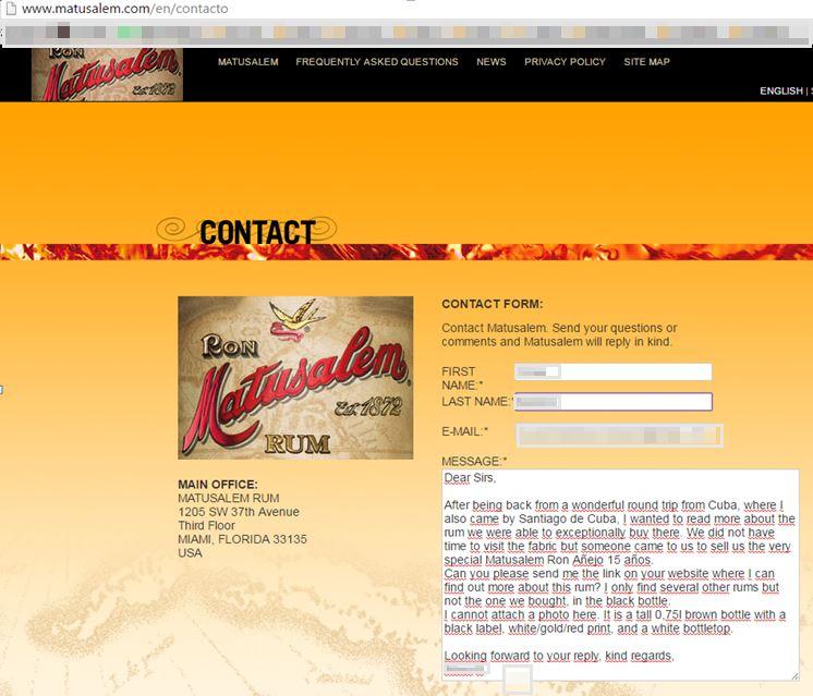 Kontakt Matusalem Rum / Ron in den USA