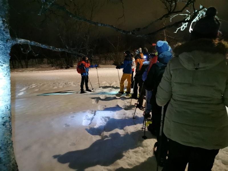 Gruppe Schneeschuhwandern Tromsö