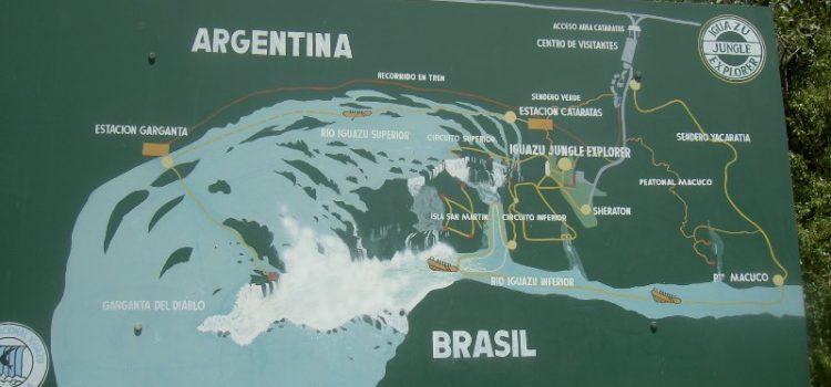 Karte, Landkarte Wasserfälle Iguazu, Argentinien und Brasilien